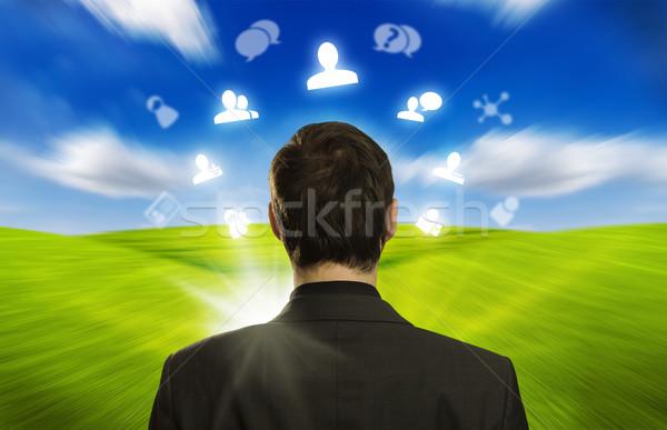 Stockfoto: Jonge · zakenman · iconen · rond
