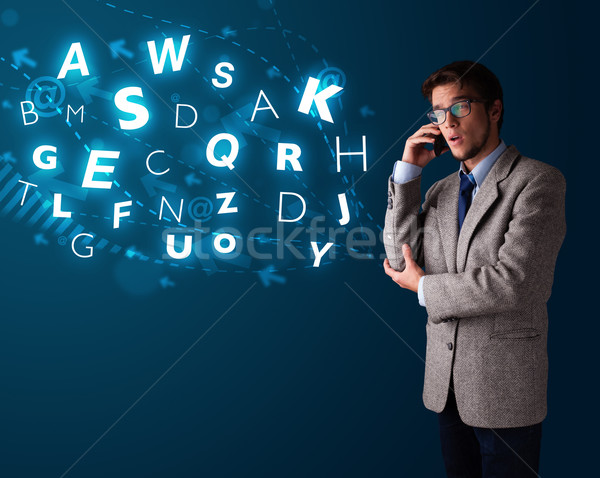 Telefoongesprek knap Stockfoto © ra2studio