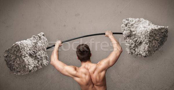 Zdjęcia stock: Muskularny · człowiek · rock · kamień