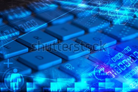 Keyboard with glowing programming codes Stock photo © ra2studio