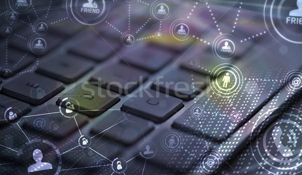 Foto stock: Teclado · red · social · iconos · social