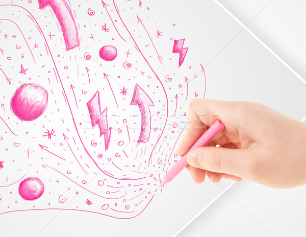 ストックフォト: 手 · 図面 · 抽象的な · 紙 · 白