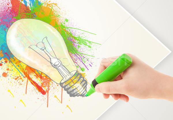 Mão desenho papel colorido agitar-se lâmpada Foto stock © ra2studio