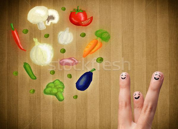 Feliz cara sonriente dedos mirando ilustración colorido Foto stock © ra2studio