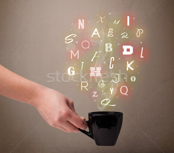 Coffee cup with colorful letters Stock photo © ra2studio