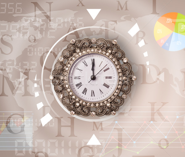 Clocks with world time and finance business concept Stock photo © ra2studio