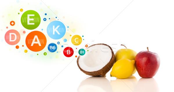 Gezonde vruchten kleurrijk vitamine symbolen iconen Stockfoto © ra2studio