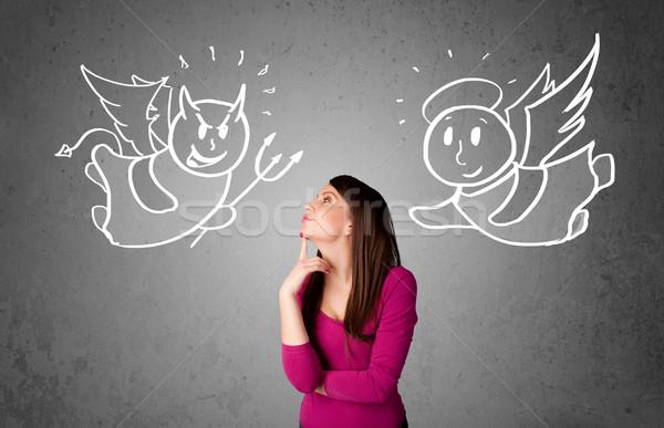 Nő áll angyal ördög fiatal nő rajzok Stock fotó © ra2studio