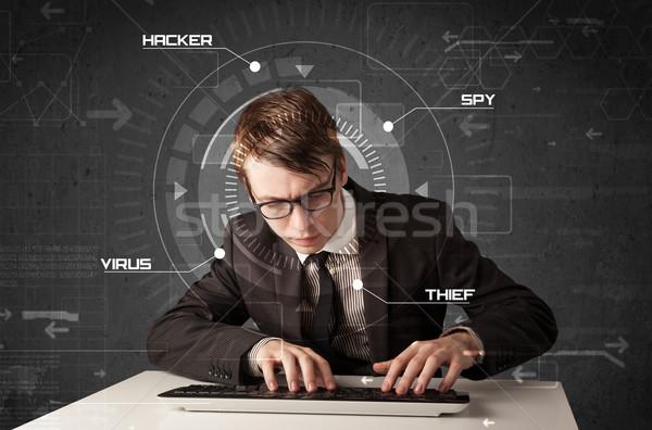 Jovem futurista hackers pessoal informação Foto stock © ra2studio