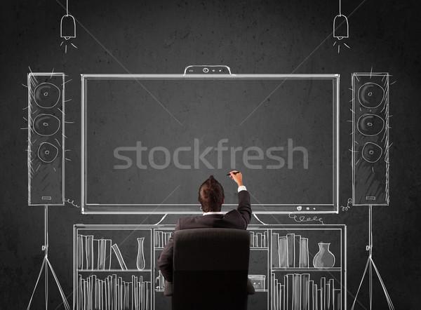 Stockfoto: Zakenman · home · cinema · jonge · vergadering · genieten · man
