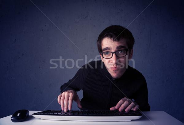 Hacker werken toetsenbord Blauw muis computer Stockfoto © ra2studio