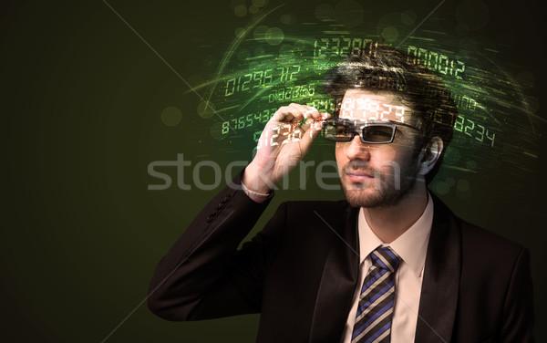 деловой человек глядя высокий Tech числа компьютер Сток-фото © ra2studio