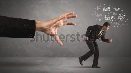 Ogromny nogi malutki kobieta tle garnitur Zdjęcia stock © ra2studio