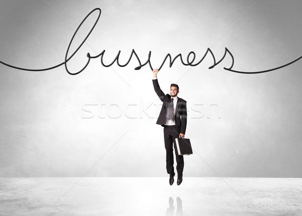 Akasztás üzletember üzlet kötél égbolt kéz Stock fotó © ra2studio