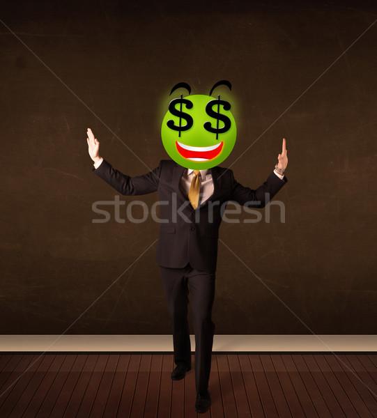 человека знак доллара бизнесмен деньги улыбка Сток-фото © ra2studio