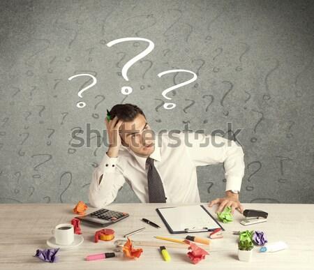 Işadamı büro soru işareti karışık meşgul zarif Stok fotoğraf © ra2studio