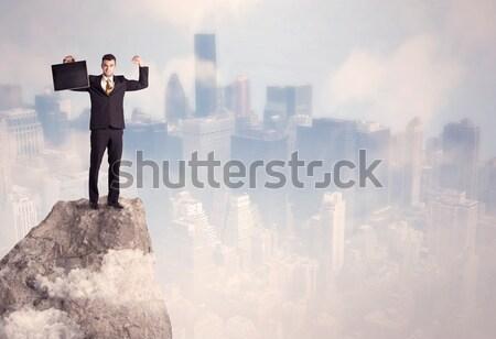 Kazanan kentsel işadamı üst taş başarılı Stok fotoğraf © ra2studio