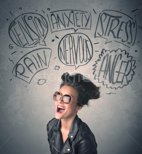 Mad młoda kobieta ekstremalnych tle krzyk Zdjęcia stock © ra2studio