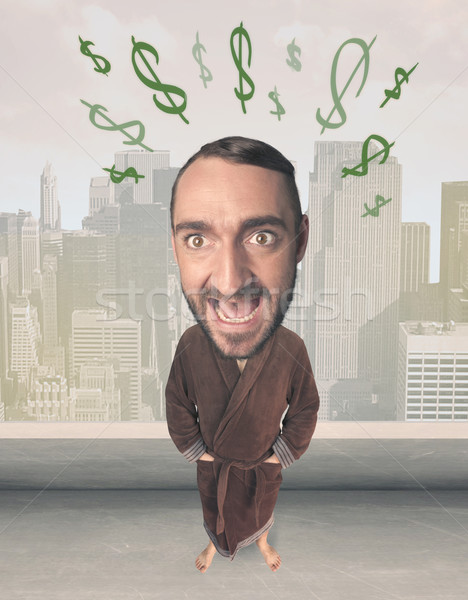 Big head person with idea dollar marks Stock photo © ra2studio