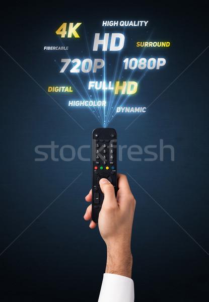 手 リモコン マルチメディア 外に 技術 ストックフォト © ra2studio