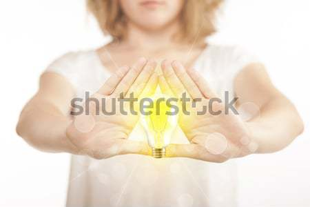 手 フォーム 電球 黄色 センター 手 ストックフォト © ra2studio