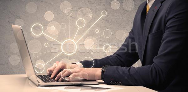 Wissenschaft Arbeitnehmer eingeben Laptop-Computer Büro Verkäufer Stock foto © ra2studio