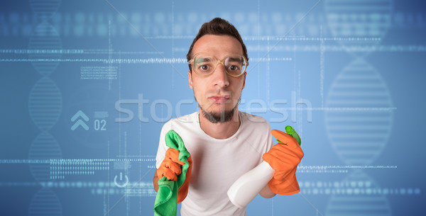 Crowd cleaning theme with cleaner and DNS graphic Stock photo © ra2studio