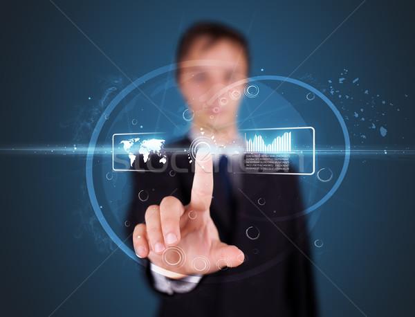 Stock fotó: üzletember · kisajtolás · magas · tech · modern