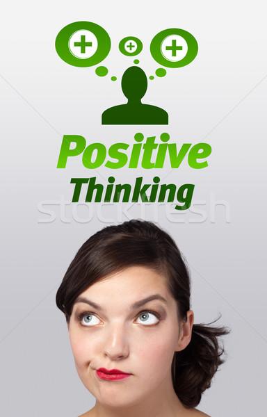 Fiatal lány néz pozitív negatív feliratok fej Stock fotó © ra2studio