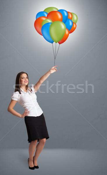 Jonge vrouw kleurrijk ballonnen mooie vrouw Stockfoto © ra2studio