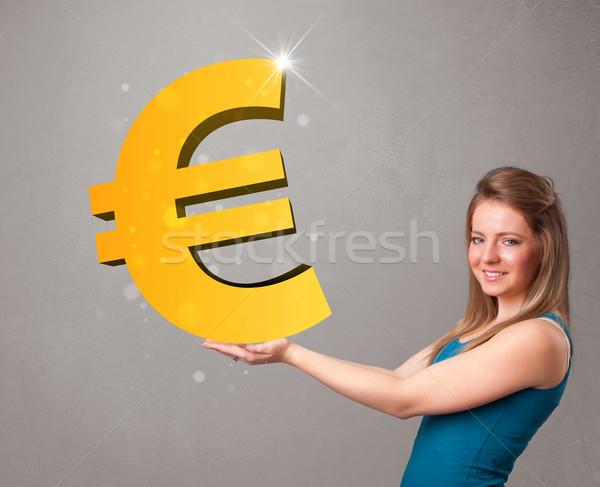 Mooi meisje groot 3D goud euro Stockfoto © ra2studio