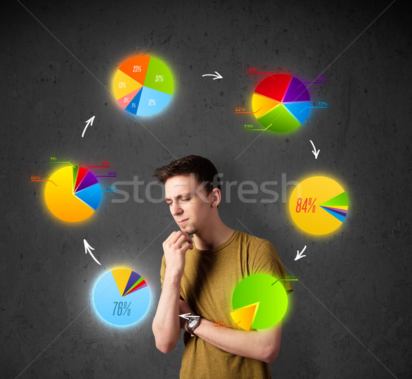 Stock photo: Young man thinking with pie charts circulation around his head