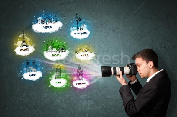 Turísticos fotógrafo nino famoso Foto stock © ra2studio