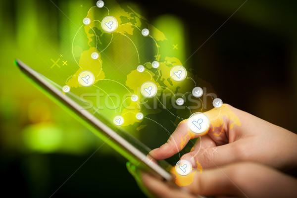 Mano toccare social network dito punta Foto d'archivio © ra2studio