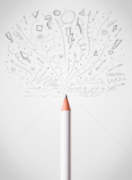 Pencil drawing sketchy arrows Stock photo © ra2studio
