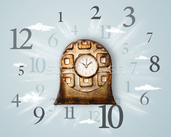 Stock photo: Vintage clock with numbers on the side