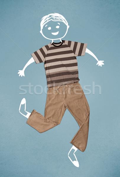 Grappig cute karakter toevallig kleding Stockfoto © ra2studio