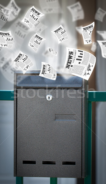 Post box with daily newspapers flying Stock photo © ra2studio