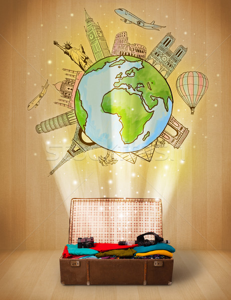 Luggage with travel around the world illustration concept Stock photo © ra2studio