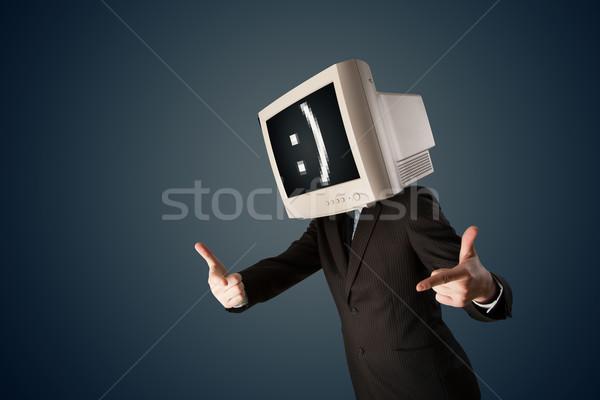 Stock foto: Funny · jungen · Geschäftsmann · Monitor · Kopf