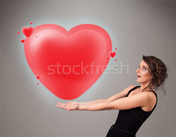 молодые Lady 3D красный сердце Сток-фото © ra2studio