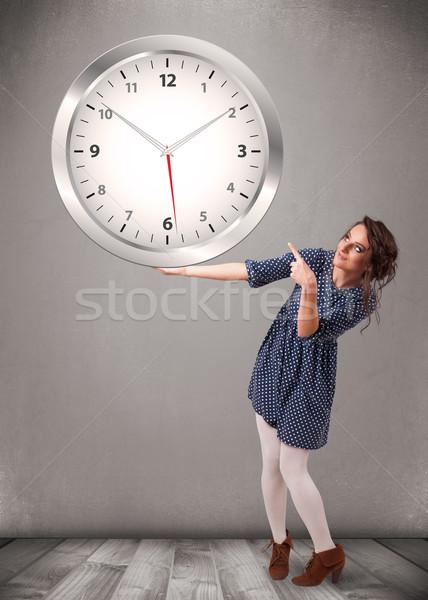 Atraente senhora enorme relógio jovem Foto stock © ra2studio