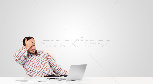 Attractive businessman with plain white copy space Stock photo © ra2studio