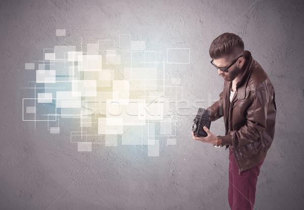 Cara retro câmera ação engraçado Foto stock © ra2studio