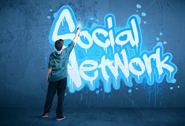 Fiatal városi festő rajz közösségi háló kéz Stock fotó © ra2studio