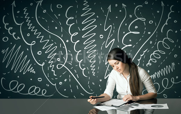Businesswoman with curly lines and arrows Stock photo © ra2studio