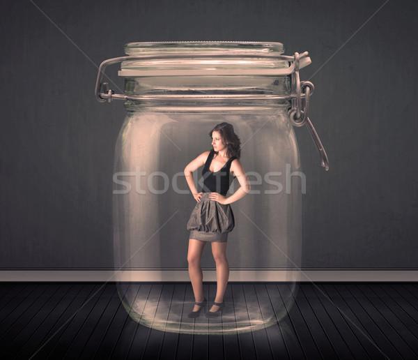 Kobieta interesu uwięzione szkła jar biuro przestrzeni Zdjęcia stock © ra2studio