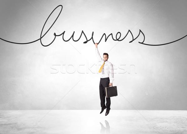 Opknoping zakenman business touw hand helpen Stockfoto © ra2studio