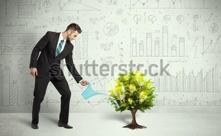Stockfoto: Zakenman · water · gloeilamp · groeiend · boom