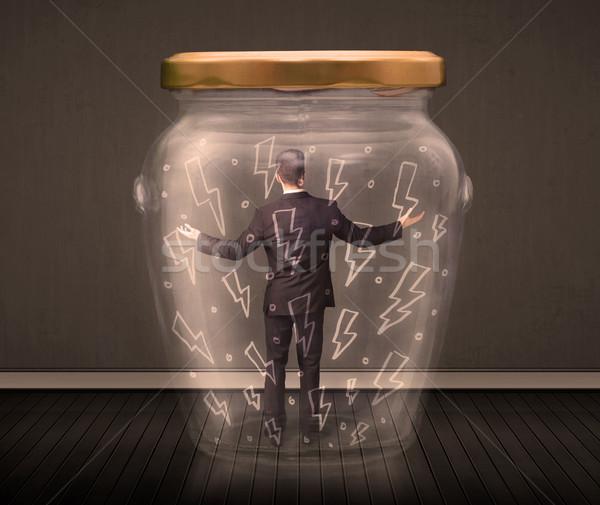 ビジネスマン ガラス jarファイル 雷 図面 ストックフォト © ra2studio